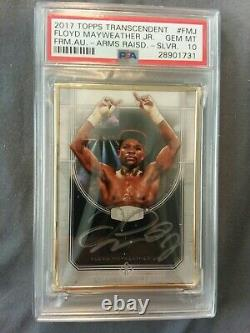2017 Floyd Mayweather Transcendent Psa 10 04/15 Framed Auto-arms Raised Silver