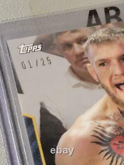 2017 Topps #5B Parallel Conor McGregor Floyd Mayweather Blue #01/25 (Poirier)UFC