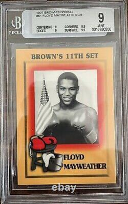 BGS 9- 1997 Brown's Boxing Floyd Mayweather Jr ROOKIE RC #51 MINT GOAT