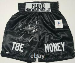 FLOYD MAYWEATHER JR. Signed Autographed BLACK BOXING Trunks. BECKETT WITNESSED