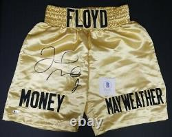 FLOYD MAYWEATHER JR. Signed Autographed GOLD TRUNKS. BECKETT WITNESSED