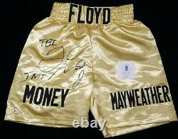 FLOYD MAYWEATHER JR. Signed Autographed GOLD Trunks TBE, TMT. BECKETT WITNESSED