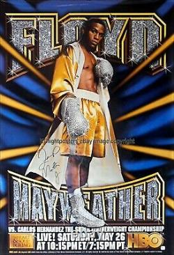 FLOYD MAYWEATHER vs. CARLOS HERNANDEZ Mayweather Signed HBO Boxing Poster 30D