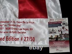 FLOYD MAYWEATHER vs OSCAR DE LA HOYA AUTOGRAPHED BOXING TRUNKS (JSA COA) #27/50