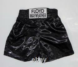 Floyd Mayweather Autographed Black Custom Trunks Beckett Auth Silver
