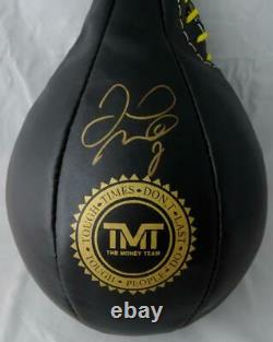 Floyd Mayweather Autographed Black TMT Boxing Speed Bag Beckett BAS Gold