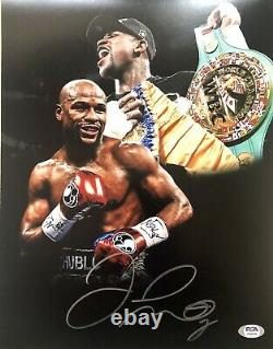 Floyd Mayweather Autographed/Signed 8X10 Belts Photo PSA Signed In Silver