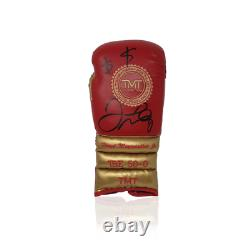 Floyd Mayweather Hand Signed Red/Gold Trademark TMT Boxing Glove in AAA Sp