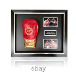 Floyd Mayweather Hand Signed Red/Gold Trademark TMT Boxing Glove in Deluxe