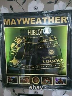 Floyd Mayweather Jnr FRAMED & GENUINE HAND SIGNED Boxing Trunks COA