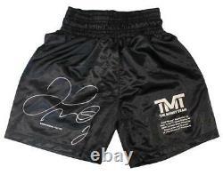 Floyd Mayweather Jr Autographed/Signed TMT Black Boxing Trunks LE/500 BAS 24972