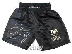 Floyd Mayweather Jr Autographed/Signed TMT Black Boxing Trunks LE/50 BAS 24971