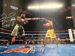Floyd Mayweather Jr Signed 33x43 Canvas Vs Manny Pacquiao Tbe Inscription Bas