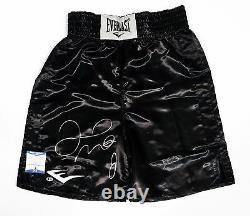 Floyd Mayweather Jr Signed Black Everlast Boxing Trunks BAS I44522 TMT