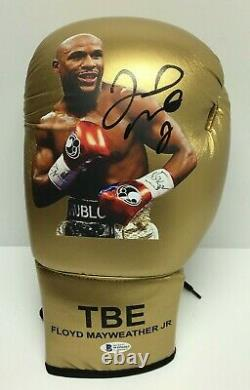 Floyd Mayweather Jr Signed Gold TBE Mayweather Boxing Glove BAS WD96062