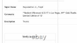 Floyd Mayweather Jr Signed Limited Edition Le 12 Gold Trunks Beckett Coa Proof