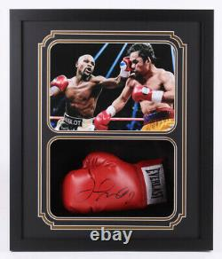 Floyd Mayweather Jr. Signed Red Everlast Boxing Glove Custom Shadow Box Jsa Coa