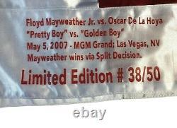 Floyd Mayweather Jr Signed vs. De La Hoya Boxing Trunks #D 38/50 BAS COA with Stat