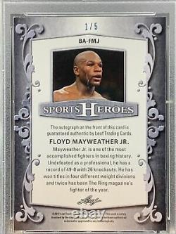 Floyd Mayweather Jr. Ssp Autograph #1/5 2017 Leaf Metal Sports Heroes Psa 9