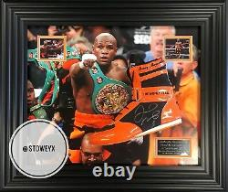 Floyd Mayweather Signed Boxing Boot Deluxe Framed TMT Photo Proof C. O. A