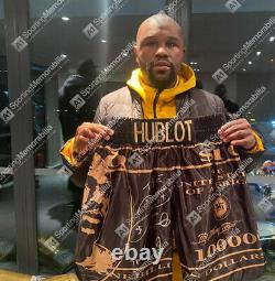 Floyd Mayweather Signed Boxing Shorts Black/Gold Autograph