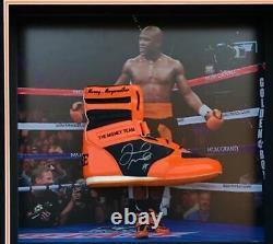 Floyd Mayweather Signed & FRAMED TMT ORANGE Boxing Boot EXACT Proof AFTAL COA