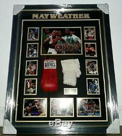 Floyd Mayweather Signed GLOVE Autograph LUXURY Display and WORN HAND WRAP