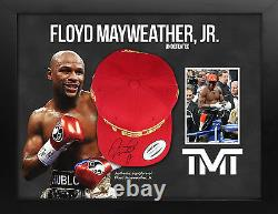 Floyd Mayweather Signed TMT BASEBALL CAP With Proof Signed in Las Vegas FRAMED