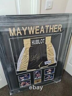 Signed Framed Floyd Mayweather Trunks With Coa