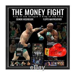The Money Fight Signed Framed Boxing Gloves Conor Mcgregor Floyd Mayweather