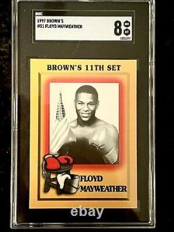 1997 Brown's Boxing #51 Floyd Mayweather Jr. Carte Rookie Rc Sgc & Trunks Signés