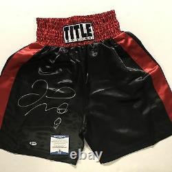 Autographié / Signé Jr Floyd Mayweather. Noir / Rouge / Boxe Trunks Shorts Bas Coa