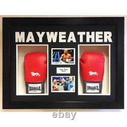 Boxe Glove Display Case/3d Box For 2x Signed Floyd Mayweather Gloves With Pics