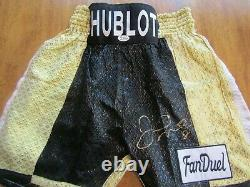 Floyd Mayweather Autographié Signé Hublot Fanduel Boxing Trunks Beckett Coa