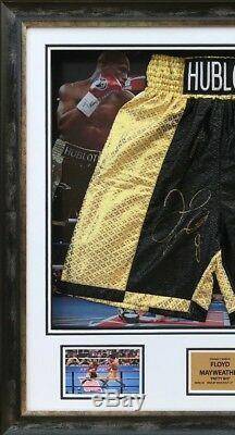 Floyd Mayweather Jnr Encadré & Main Authentique Signée Boxe Trunks Preuve Aftal Coa