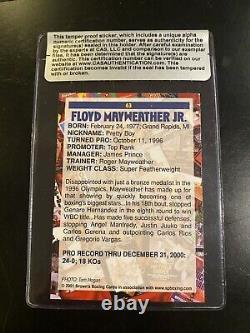 Floyd Mayweather Jr 2001 Carte De Boxe Browns Cas Autographe