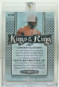 Floyd Mayweather Jr 2018 Feuille Heroes Sport Métal Kings Blue Ring Autograph # 3/3