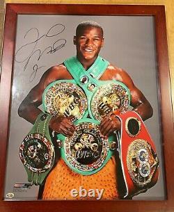 Floyd Mayweather Jr A Signé Une Photo Avec Les Ceintures De Championnat Du Monde De Boxe Frame Avec Coa