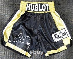 Floyd Mayweather Jr. Authentique Signé Black Boxing Trunks Jsa 178293