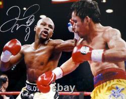 Floyd Mayweather Jr. Autographié 16x20 Photo Vs. Pacquiao Beckett Coa I61255