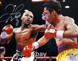 Floyd Mayweather Jr. Autographié 16x20 Photo Vs. Pacquiao Beckett Coa I61256