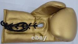 Floyd Mayweather Jr. Autographié Gant De Boxe D'or Avec Photo Lh Beckett 148624