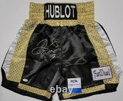 Floyd Mayweather Jr. Autographié Hublot, Fan Duel Boxing Trunks. Témoin Psa/adn