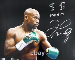 Floyd Mayweather Jr. Autographié Signé 16x20 Photo Argent Beckett Bas 159709