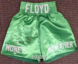 Floyd Mayweather Jr. Autographié Signé Green Boxing Trunks Tmt Beckett 159663