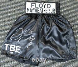 Floyd Mayweather Jr. Autographié Signé Trunks Boxe Noir Beckett Bas 159668