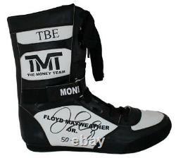 Floyd Mayweather Jr Autographié Tmt Tbe Black Right Boxing Shoe 50-0 Bas 24970