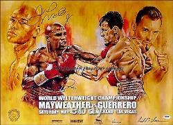 Floyd Mayweather Jr C. Robert Guerrero Dual Signed Affiche De Boxe Sur Place Psa