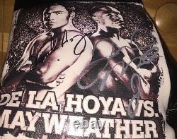 Floyd Mayweather Jr Et Oscar De La Hoya Signé Gant Photo Avec La Preuve