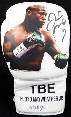 Floyd Mayweather Jr. Gant De Boxe Blanc Autographié Avec Photo Rh Beckett 123604